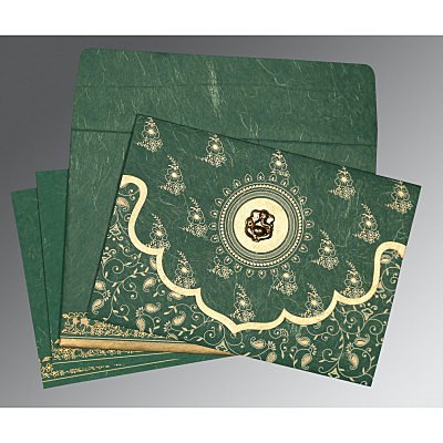 Green Handmade Silk Screen Printed Wedding Invitation : CW-8207L - IndianWeddingCards