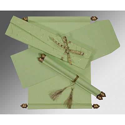 Green Handmade Silk Wedding Card : CSC-5002K - IndianWeddingCards