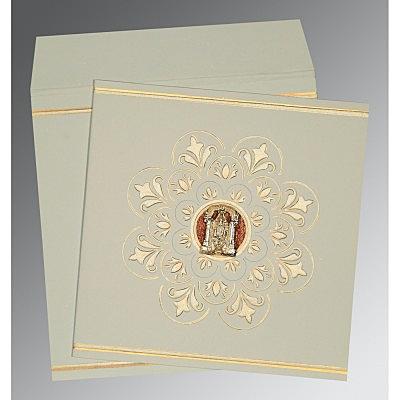 Green Matte Box Themed - Embossed Wedding Card : CSO-1190 - IndianWeddingCards
