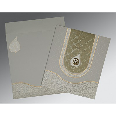 Green Matte Embossed Wedding Invitation : CW-2151 - IndianWeddingCards