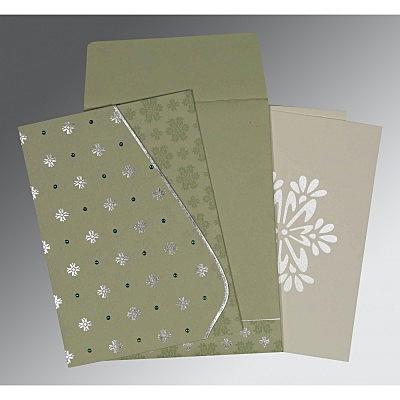 Green Matte Floral Themed - Foil Stamped Wedding Invitation : CC-8237I - IndianWeddingCards
