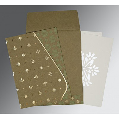 Green Matte Floral Themed - Foil Stamped Wedding Invitation : CI-8237E - IndianWeddingCards