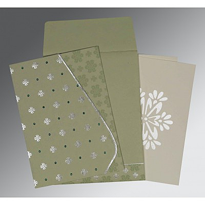 Green Matte Floral Themed - Foil Stamped Wedding Invitations : CW-8237I - IndianWeddingCards