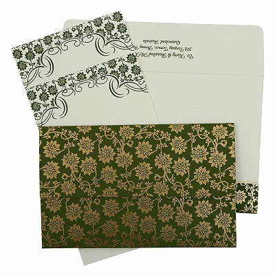 Green Matte Floral Themed - Screen Printed Wedding Invitation : CW-810D - IndianWeddingCards