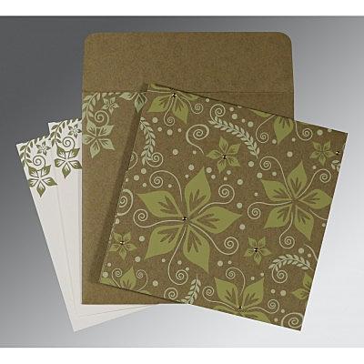 Green Matte Floral Themed - Screen Printed Wedding Invitation : CC-8240F - IndianWeddingCards