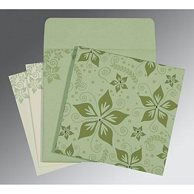 Green Matte Floral Themed - Screen Printed Wedding Invitation : CI-8240I - IndianWeddingCards