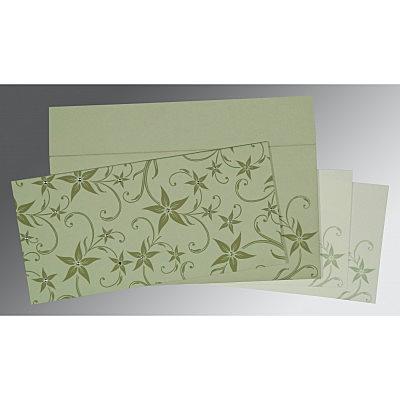 Green Matte Floral Themed - Screen Printed Wedding Invitation : CSO-8225E - IndianWeddingCards