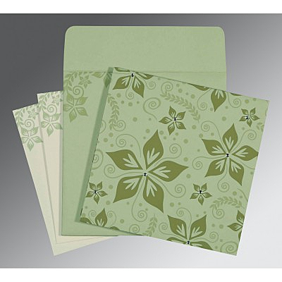 Green Matte Floral Themed - Screen Printed Wedding Invitation : CW-8240I - IndianWeddingCards