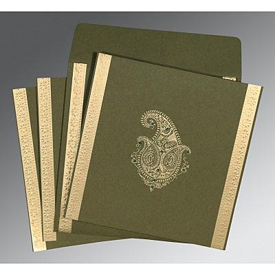 Green Matte Paisley Themed - Embossed Wedding Invitation : CRU-8231B - IndianWeddingCards