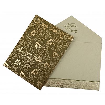 Green Matte Paisley Themed - Screen Printed Wedding Invitation : CD-811C - IndianWeddingCards