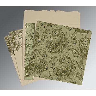 Green Matte Paisley Themed - Screen Printed Wedding Card : CIN-8250G - IndianWeddingCards
