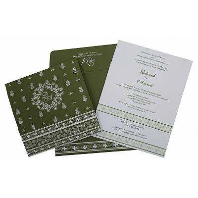 Green Matte Screen Printed Wedding Invitation : CS-808A - IndianWeddingCards