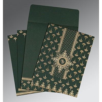 Green Matte Screen Printed Wedding Invitation : CIN-8247N - IndianWeddingCards