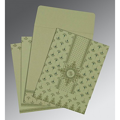 Green Matte Screen Printed Wedding Invitation : CRU-8247L - IndianWeddingCards