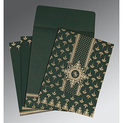 Green Matte Screen Printed Wedding Invitation : CS-8247N - IndianWeddingCards