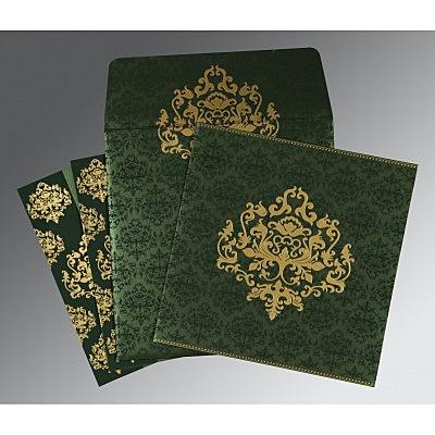 Green Shimmery Damask Themed - Screen Printed Wedding Card : CC-8254D - IndianWeddingCards
