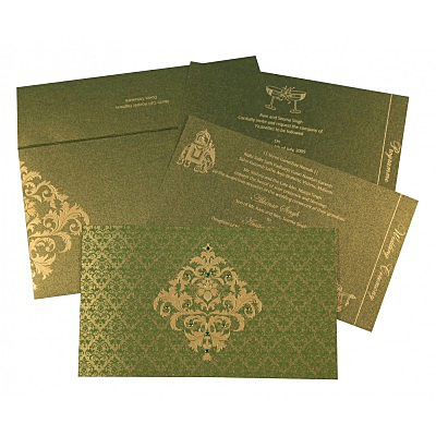 Green Shimmery Damask Themed - Screen Printed Wedding Card : CIN-8257A - IndianWeddingCards