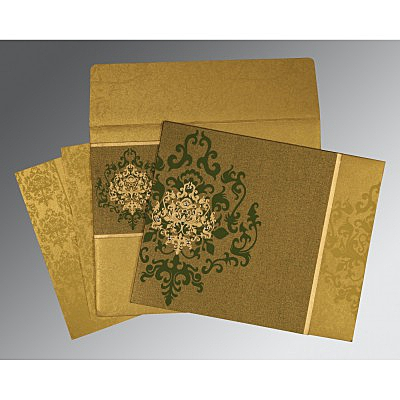 Green Shimmery Damask Themed - Screen Printed Wedding Card : CW-8253C - IndianWeddingCards