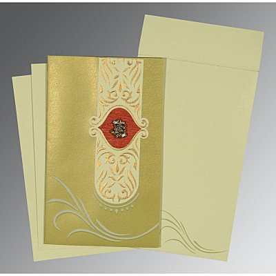Green Shimmery Embossed Wedding Card : CC-1317 - IndianWeddingCards