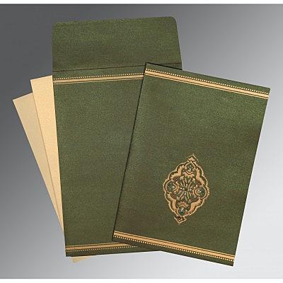 Green Shimmery Embossed Wedding Card : CC-1388 - IndianWeddingCards