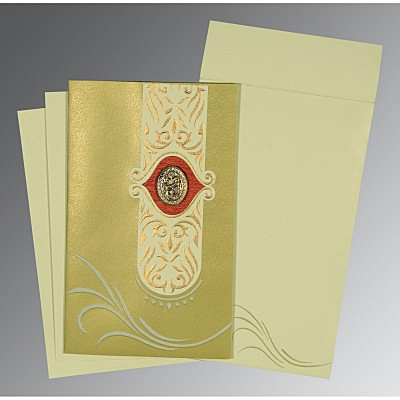 Green Shimmery Embossed Wedding Card : CI-1317 - IndianWeddingCards