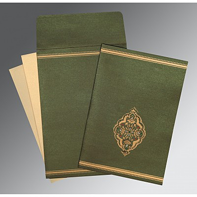 Green Shimmery Embossed Wedding Card : CI-1388