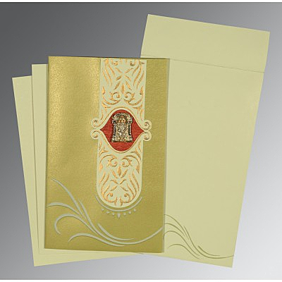 Green Shimmery Embossed Wedding Card : CSO-1317
