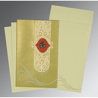 Green Shimmery Embossed Wedding Card : CW-1317 - IndianWeddingCards