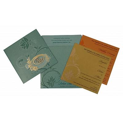 Green Shimmery Floral Themed - Foil Stamped Wedding Invitation : CD-1773 - IndianWeddingCards
