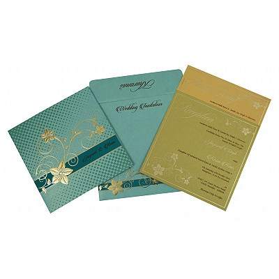 Green Shimmery Floral Themed - Foil Stamped Wedding Invitation : CW-1790 - IndianWeddingCards