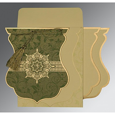 Green Shimmery Floral Themed - Screen Printed Wedding Card : CC-8229P - IndianWeddingCards