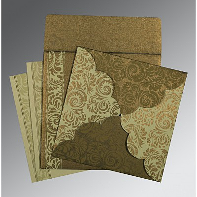 Green Shimmery Floral Themed - Screen Printed Wedding Card : CI-8235A