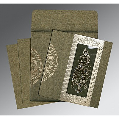 Green Shimmery Paisley Themed - Foil Stamped Wedding Invitations : CW-8230L - IndianWeddingCards