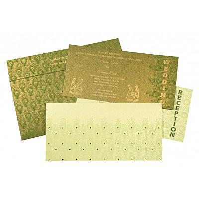 Green Shimmery Peacock Themed - Screen Printed Wedding Invitation : CC-8256F - IndianWeddingCards