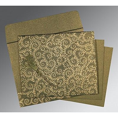 Green Shimmery Screen Printed Wedding Invitation : CC-8217H - IndianWeddingCards