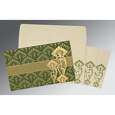 Green Shimmery Screen Printed Wedding Card : CI-8239F - IndianWeddingCards