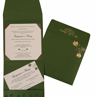 Green Shimmery Screen Printed Wedding Invitation : CIN-803B - IndianWeddingCards