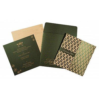 Green Shimmery Screen Printed Wedding Invitation : CIN-8263G