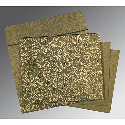 Green Shimmery Screen Printed Wedding Invitation : CS-8217H - IndianWeddingCards