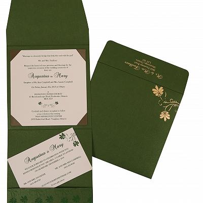 Green Shimmery Screen Printed Wedding Invitation : CW-803B - IndianWeddingCards