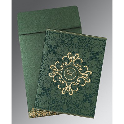 Green Shimmery Screen Printed Wedding Invitations : CW-8244I - IndianWeddingCards