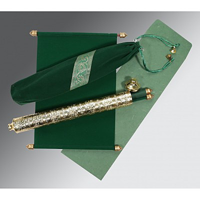 Green Velvet Wedding Card : CSC-5005I - IndianWeddingCards