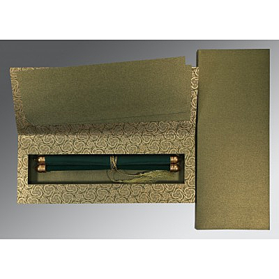 Green Velvet Wedding Card : CSC-5009E - IndianWeddingCards