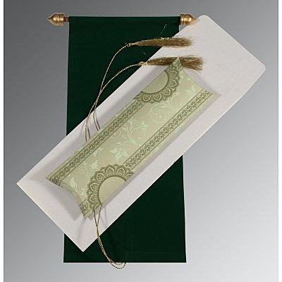 Green Velvet Wedding Card : CSC-5010D - IndianWeddingCards