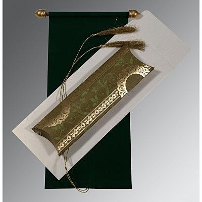Green Velvet Wedding Card : CSC-5010F - IndianWeddingCards
