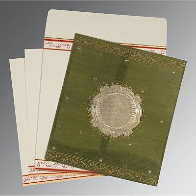 Green Wooly Embossed Wedding Invitations : CD-8202C - IndianWeddingCards