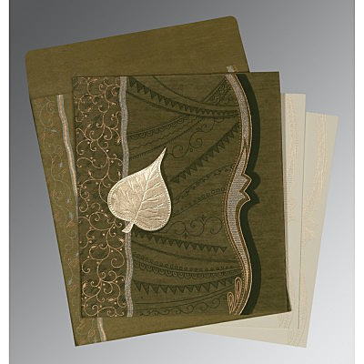 Green Wooly Embossed Wedding Card : CD-8210I - IndianWeddingCards