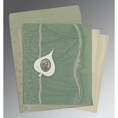 Green Wooly Embossed Wedding Card : CI-8210E - IndianWeddingCards