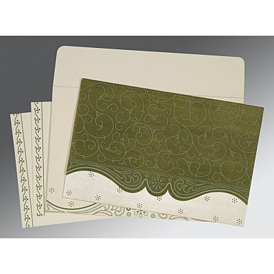 Green Wooly Embossed Wedding Invitation : CI-8221D - IndianWeddingCards