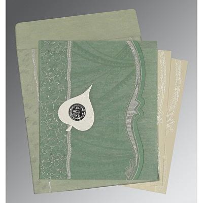 Green Wooly Embossed Wedding Card : CS-8210E - IndianWeddingCards